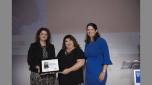 Rebecca Aleman recently received the 2017 United Way of Northeast Florida Sherwood H. Smith Children's Champion Award for advocacy. From left to right: Sara Ley, chair of the Sherwood Smith Awards selection committee; Rebecca Aleman; and Michelle Braun, president and CEO of United Way of Northeast Florida.